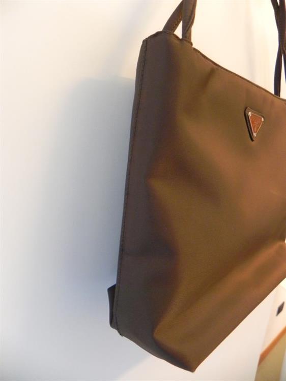 Dettagli su PRADA BORSA A MANO IN STOFFA BAG ORIGINALE MARRONE DONNA MADE IN ITALY
